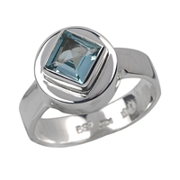 Ring Topaz blue, faceted (6 x 6mm), Size 59