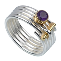 Ring stripes Amethyst, Size 55