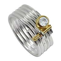 Ring stripes Topaz white, Size 53