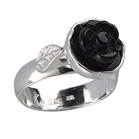 "Ring ""Rose"" Onyx, Size 59"