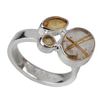 Ring Rutilated Quartz, Citrine (heated), Size 53