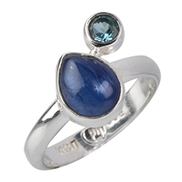 Ring Kyanite (Drop), Topaz blue faceted, Size 55