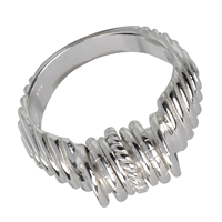 Ring with flexible Rings, Silver, Size 59