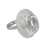 Ring Rock Crystal oval, faceted, Size 59