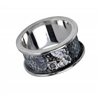 Ring Raw Diamond, Silver partly blackened, Size 63