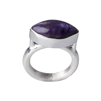 Ring Navette Charoite (17mm), Size 61, frosted Belt