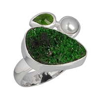 Ring Uvarovite, Pearl and Chrome Diopside, Size 61