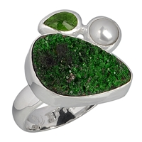 Ring Uvarovite, Pearl and Chrome Diopside, Size 63