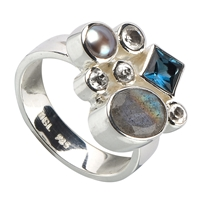 Ring Labradorite, Topaz blue (treated) and white, Pearl, Size 59