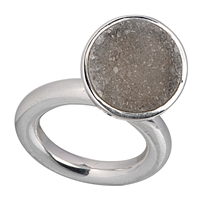 Ring Agate Druzy with flexible Setting, Size 55