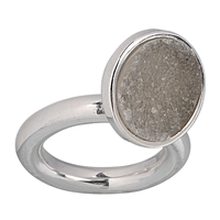 Ring Agate Druzy with flexible setting, Size 59