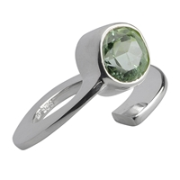Ring Prasiolite faceted, Size 63