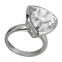 Ring Rock Crystal, triangular, Size 63