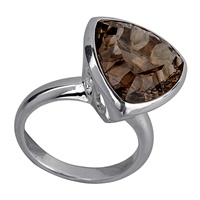 Ring Smoky Quartz, triangular, Size 57