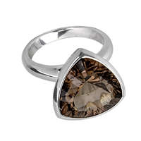 Ring Smoky Quartz, triangular, Size 59