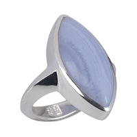 Ring Navette Blue Lace Agate, Size 55