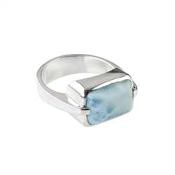 Ring Larimar rectangle (10 x 13mm), size 55