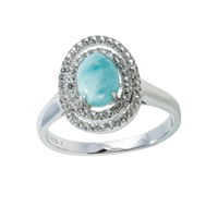 Series 8 Design Ring Larimar and Topaz, Size 62
