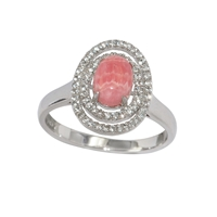 Series 1 Design Ring Rhodochrosite and Topaz, Size 54