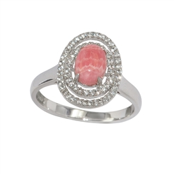 Series 1 Design Ring Rhodochrosite and Topaz, Size 59