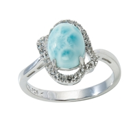 Series 9 Design Ring Larimar and Topaz, Size 54