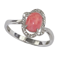 Series 2 Design Ring Rhodochrosite and Topaz, Size 52