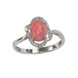 Series 2 Design Ring Rhodochrosite and Topaz, Size 62