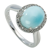 Series 11 Design Ring Larimar and Topaz, Size 52