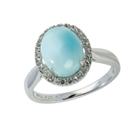 Series 11 Design Ring Larimar and Topaz, Size 62