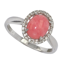 Series 3 Design Ring Rhodochrosite and Topaz, Size 60