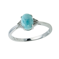 Series 5 Design Ring Larimar and Topaz, Size 54