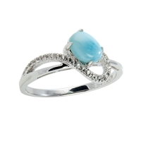 Series 1 Design Ring Larimar and Topaz, Size 54