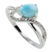Series 1 Design Ring Larimar and Topas, Size 57