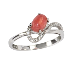 Series 5 Design Ring Rhodochrosite and Topaz, Size 52