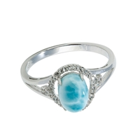 Series 10 Design Ring Larimar and Topas, Size 62