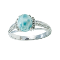 Series 6 Design Ring Larimar and Topaz, Size 52