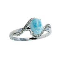 Series 2 Design Ring Larimar and Topaz, Size 52