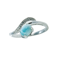 Series 3 Design Ring Larimar and Topaz, Size 52