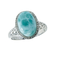 Series 12 Design Ring Larimar and Topaz, size 54