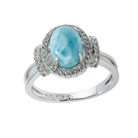 Series 7 Design Ring Larimar and Topaz, Size 62