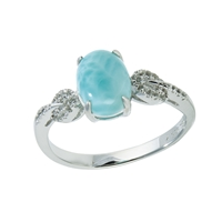 Series 4 Design Ring Larimar and Topaz, Size 60