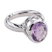 Ring Amethyst oval, faceted, Size 59, rhodium plated