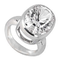 Ring Rock Crystal oval, faceted, Silver rhodium plated, Size 61