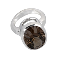 Ring Smoky Quartz oval, faceted, Silver rhodium plated, Size 57