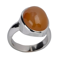 Ring Carnelian (natural) oval, size 63, rhodium plated