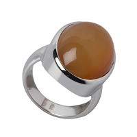 Ring Carnelian (natural) oval, Size 59, rhodium plated