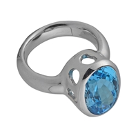 Ring Topaz (blue) oval, faceted, Size 57, rhodium plated