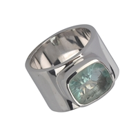 Ring Fluorite green, size 61, rhodium plated