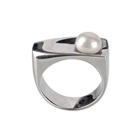 Ring Pearl white (8mm), Size 55, rhodium plated