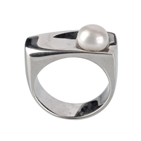 Ring Pearl white (8mm), Size 61, rhodium plated